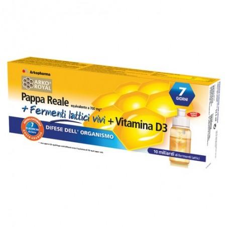 integratore alimentare pappa reale + fermenti lattici + vitamina  d3 adulti 7 flaconcini