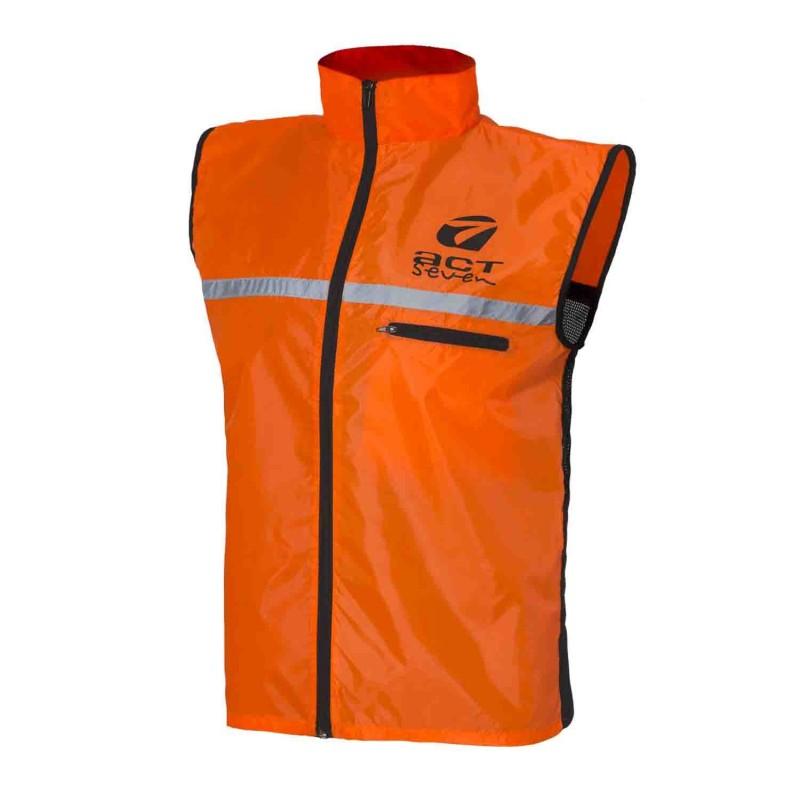 smanicato anti-vento con applicazioni riflettenti colore orange taglia-xs