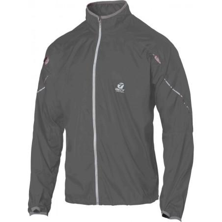 giacca anti-vento anti pioggia leggera con applicazioni riflettenti colore grigio scuro taglia-s