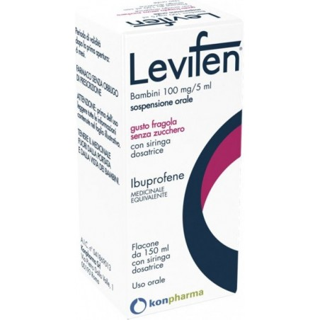 Levifen 100 mg/5 ml Bambini - antipiretico analgesico sospensione orale gusto fragola 150 ml