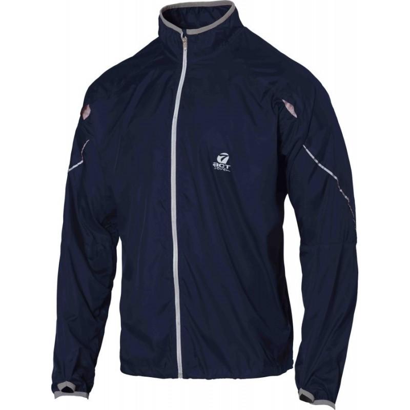 giacca anti-vento anti pioggia leggera con applicazioni riflettenti colore blue taglia-xs