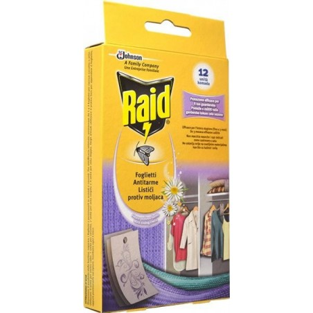 RAID - 12 foglietti antitarme profumati assortiti
