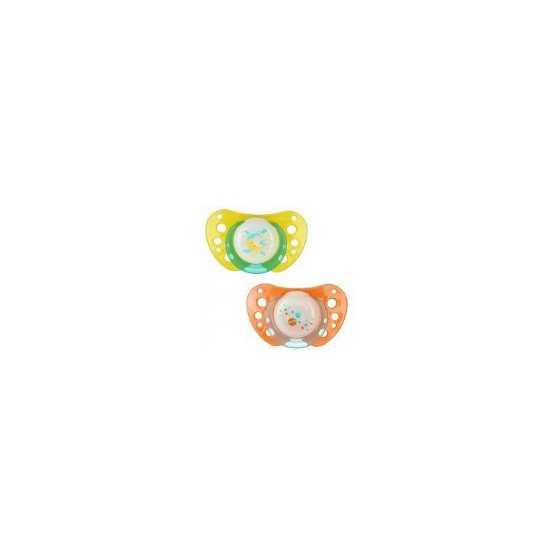 Chicco - Succhietto Physio Air Lumi in caucciù 4m+ Giallo/Arancione, 2 pezzi