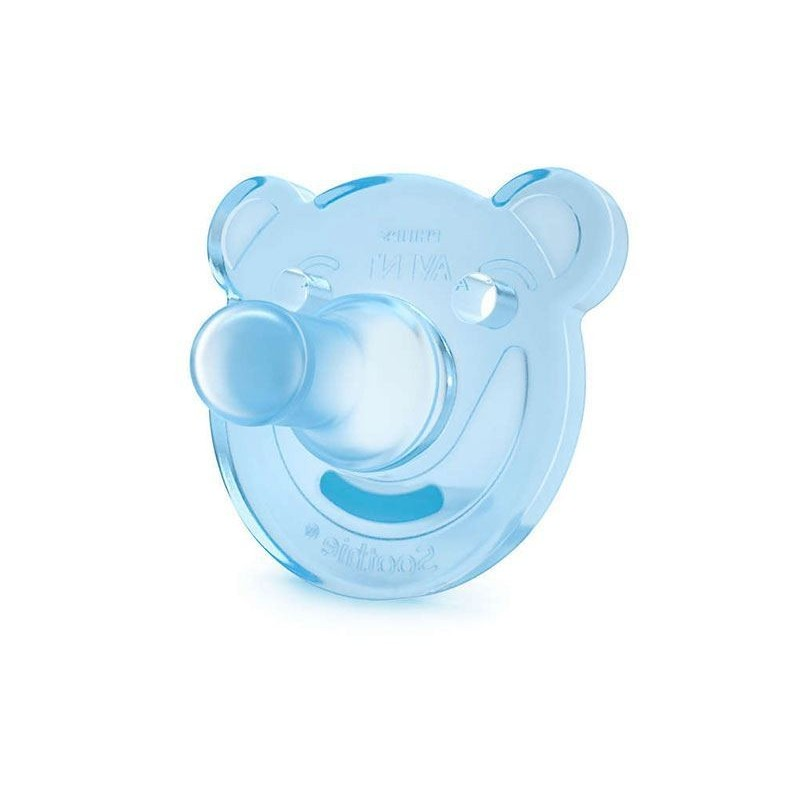 AVENT - succhietto calmante in silicone 3 m+ 1 confezione 2 pezzi azzurro