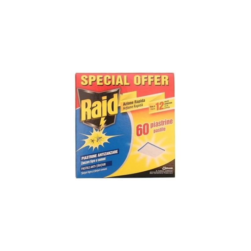 RAID - piastrine contro mosche e zanzare - confezione da 60 piastrine