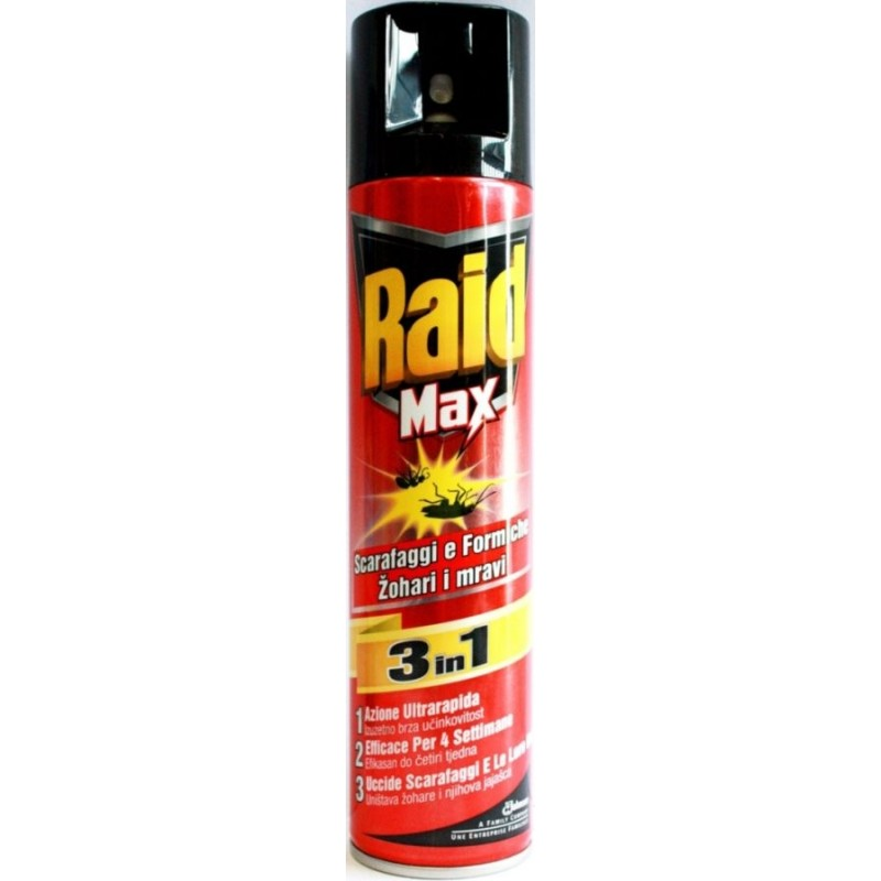 RAID - Max 3 in 1 - Spray per scarafaggi e formiche 300 ml