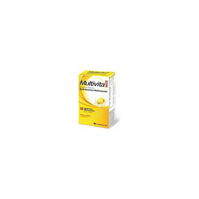 MONTEFARMACO - Multivitamix Effervescente 30 Compresse - Integratore Multivitaminico Senza Zucchero