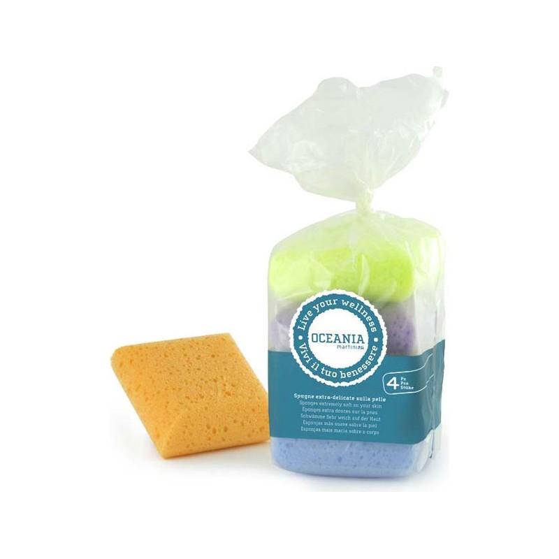 spugna quadrate extra delicate in sacchetto- set di 4 spugne