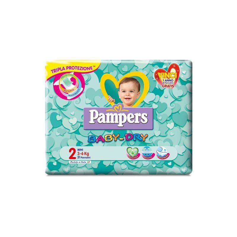 Pampers - Baby Dry - 31 Pannolini Mini Taglia 2 da 3 a 6 Kg