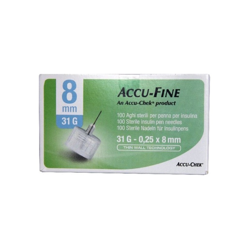 MENARINI - ago per penna da insulina glucoject pen needles lunghezza 8 mm gauge 31 100 pezzi
