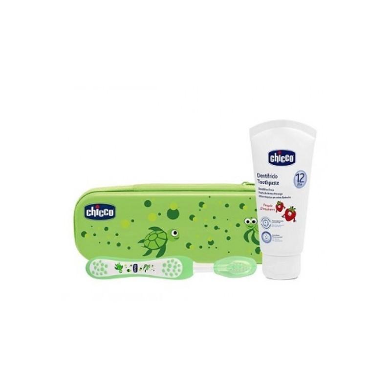 Chicco - set igiene orale verde spazzolino + dentifricio fragola 12m+