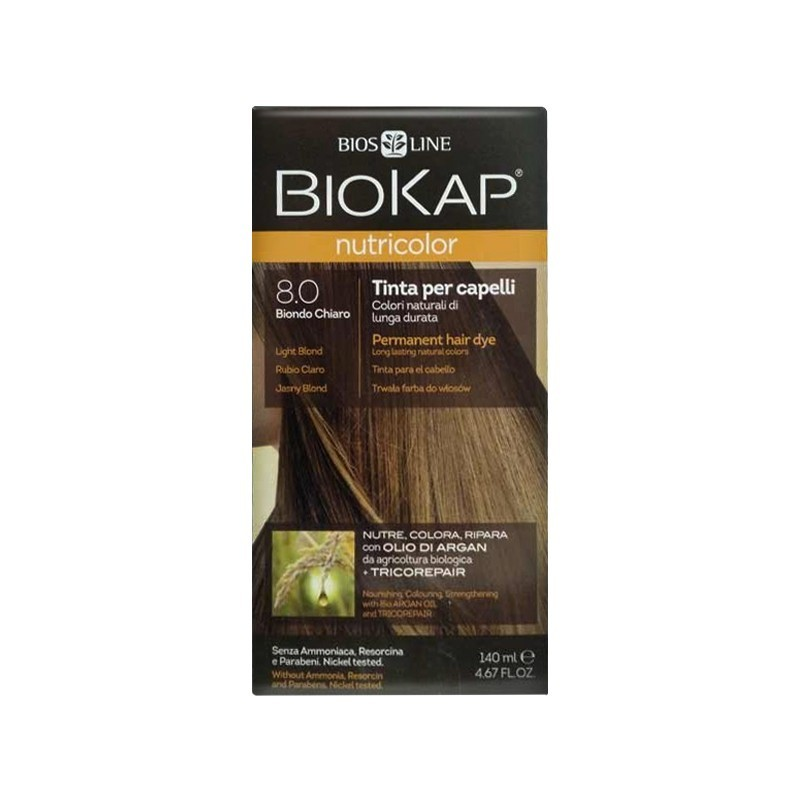 BIOS LINE - biokap nutricolor - tintura per capelli new 8.0 biondo chiaro