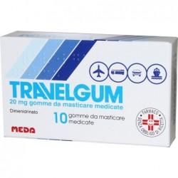 Travelgum 20 mg - farmaco contro il mal d'auto - 10 gomme da masticare medicate