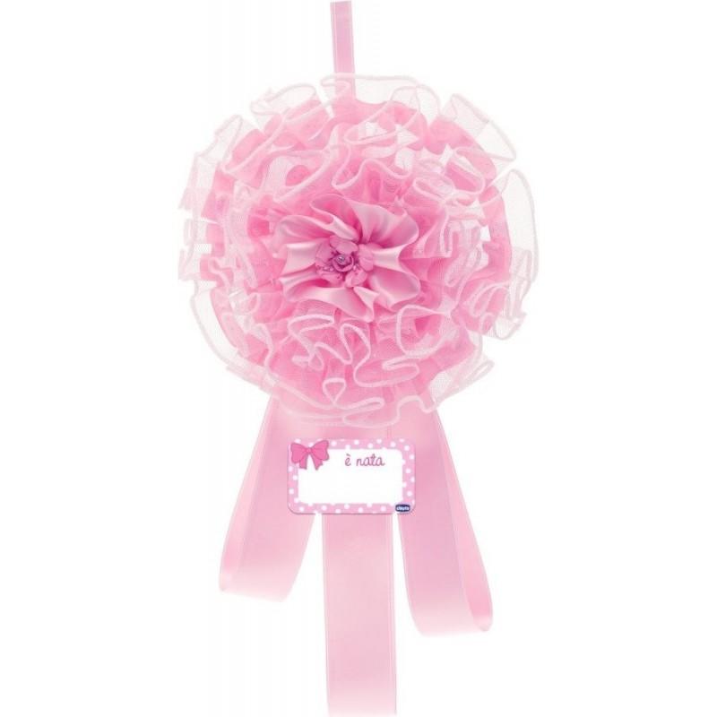 Chicco - fiocco nascita rosa in tulle e raso