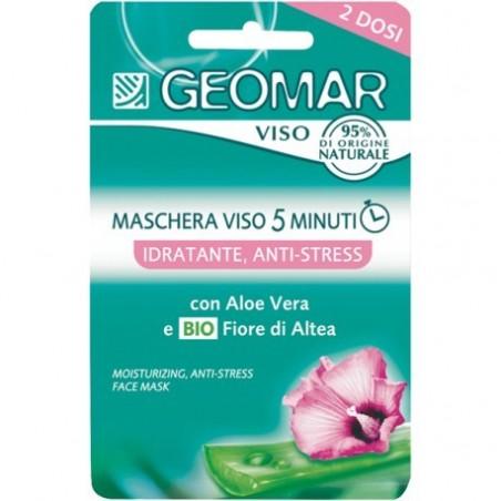 maschera viso 5 minuti idratante antistress con fiore di altea biologico e aloe vera 2 dosi  15 ml