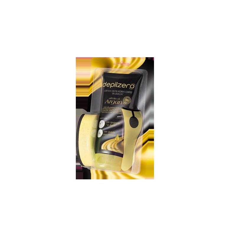 DEPILZERO - crema depilatoria corpo in doccia all'olio di argan + spugnetta e spatolina 200 ml