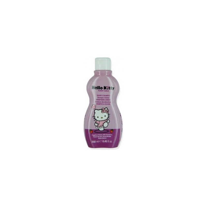 HELLO KITTY - funny girls - shampoo + bagnoschiuma per bambina 2 in 1 fragola di bosco 250ml